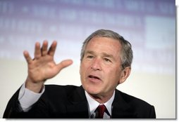 president bush speaks to members and attendees of the 2005 latino small