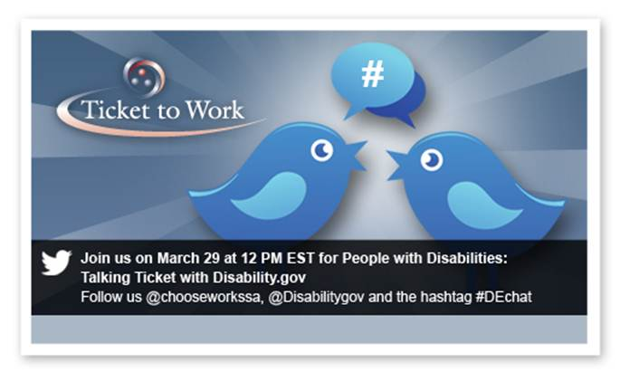 Ticket to Work Twitter ad for March 29 at 12 PM EST