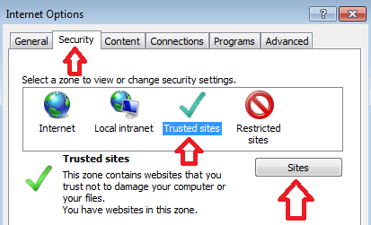 Screen capture of Internet Explorer Internet Options Security Tab