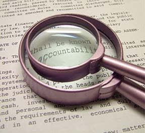 magnifying glass looking at words
