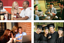 Collage of young workers and college students