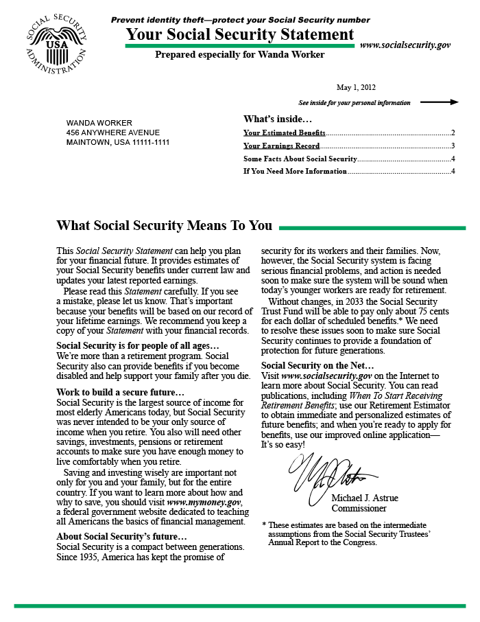 A Sample Of The Social Security Statement As It Appeared In 2012 Page 1