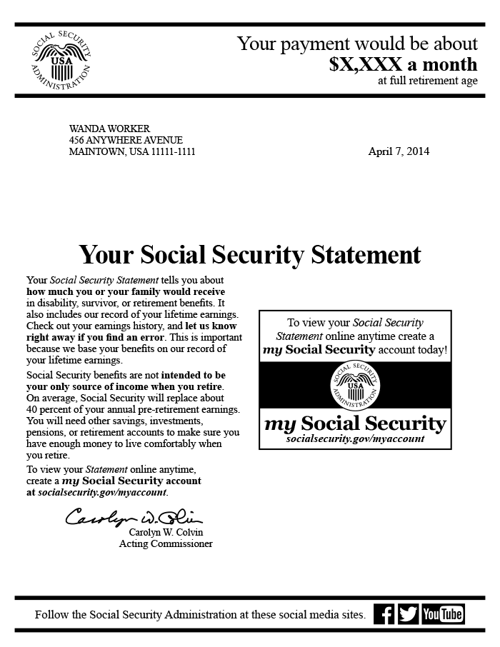 Sample First Page Of The 2014 Social Security Statement For Midcareer Workers