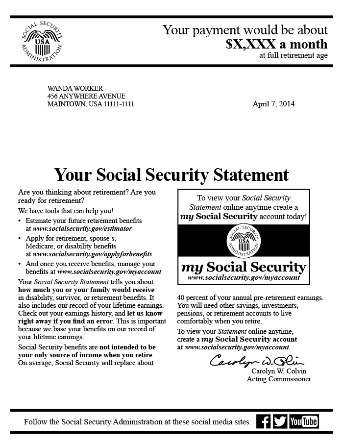 sample first page of the 2014 social security statement for older workers